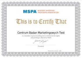 Certyfikat MSPA